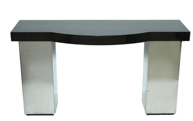 Mid-Century Modern Lacquer & Chrome Console