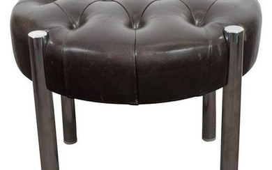 Mid-Century Tufted Leather & Chrome Stool Ottoman