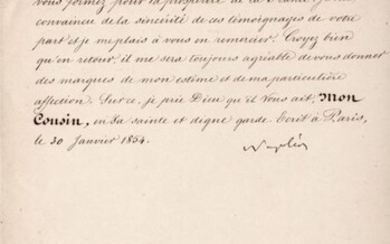 Napoleone III - Autograph; Wishes to the King of Prussia (also Signed by Minister Drouyn de Lhuys), with Envelope - 1854