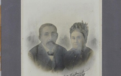OLD EUROPEAN PHOTOGRAPH OF A COUPLE, SIGNED