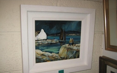 "Oil Painting by P. Murphy ""Waiting For The Catch"" - 25cm x 2..."