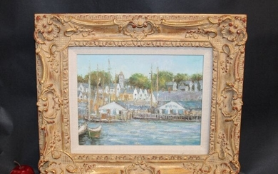 Oil on canvas waterfront signed Edgar Vaughn