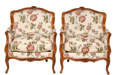 PAIR OF LOUIS XV CARVED FRUITWOOD & UPHOLSTERED