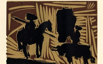 "Pablo Picasso linocut ""Before the Goading of the Bull"""