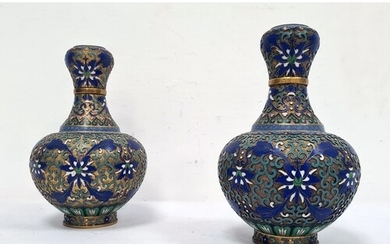 Pair 20th century Chinese cloisonne enamelled vases, baluste...