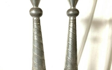 Pair Medieval Style Tin Candlesticks, Mexico