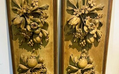 Pair Of Continental Carved Wood Panels