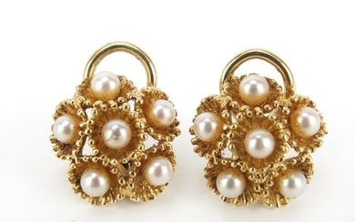 Pair of 14ct gold Mikimoto cultured pearl earrings, 1.5cm in...