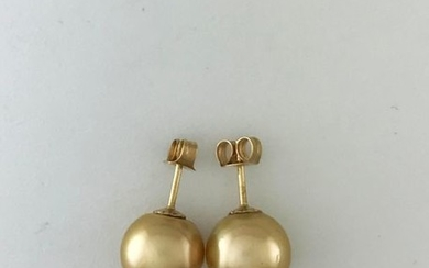 Pair of 750°/°° gold ear chips with 10mm...