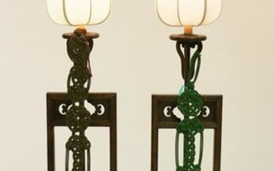 Pair of Chinese Wood Lamps