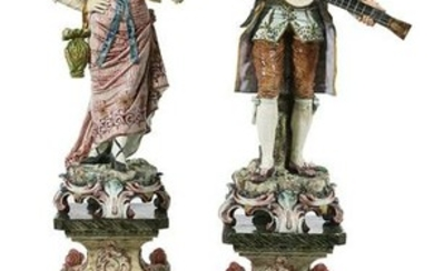 Pair of French Majolica Musicians on Pedestals