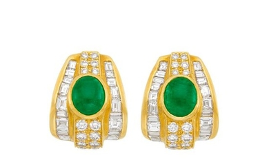 Pair of Gold, Cabochon Emerald and Diamond Earclips