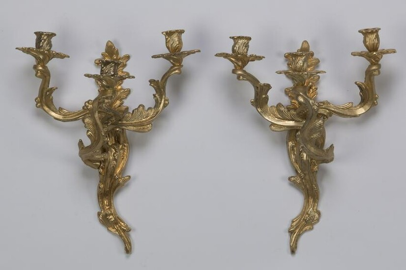 Pair of Louis XV style gilt bronze 3-arm sconces