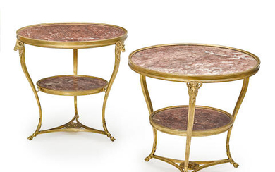 Pair of Louis XVI Style Gilt Bronze and Marble Gueridons