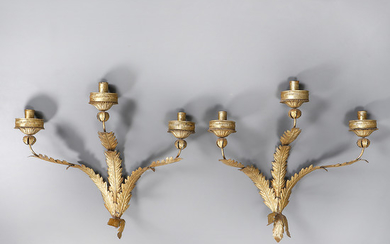 Pair of Spanish wall lamps in gilt iron, mid 20th Century.