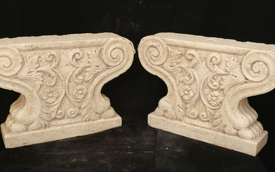 Pair of finely carved Venetian bases - H 40 cm - Yellow Istria marble - 19/20 century