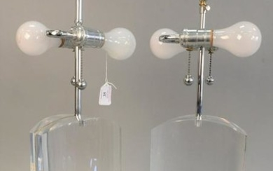 "Pair of large lucite table lamps, 26"". Provenance"