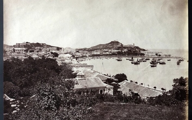 Photograph Macao 1870s a large albumen print photo of South bay of Macau