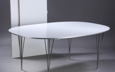 Piet Hein & Bruno Mathsson. Super-Ellipse dining table with extension, two extension leaves (3)