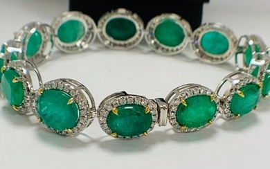 Platinum and Yellow Gold Emerald and Diamond bracelet...
