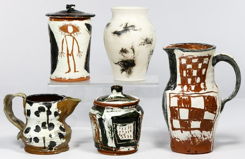 Pottery Pitcher and Canister Assortment