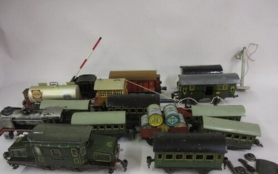 Quantity of 0 gauge tin plate model railway, including a Mar...