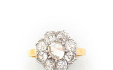 RING in 18K yellow gold and platinum with a flower...