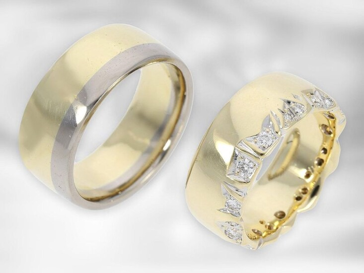 Ring: 2 unique goldsmith rings, 1 yellow gold ring with diamonds, 1 bicolor ring, 14K gold, made by Hamburg goldsmiths