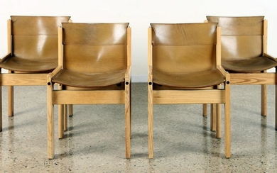 SET 4 ITALIAN OAK AND LEATHER SIDE CHAIRS C.1980