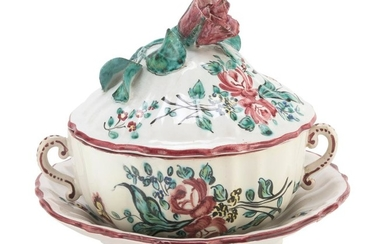 SMALL TUREEN WITH DISH IN CERMAICA - CANTAGALLI EARLY 20TH CENTURY