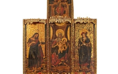 SPANISH SCHOOL, 16TH CENTURY, central panel: The Virgin and Child with Saint Anne, the Holy Trinity above; the wings: Saint John the Baptist before a richly embroidered canopy, and Saint Sebastian before a richly embroidered canopy; the predella: Saint...