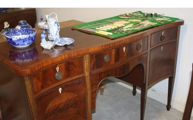 Serpentine Fronted Flame Mahogany Sideboard approx. 60' Wid...