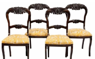 Set of 19thc Victorian Balloon Back Side Chairs