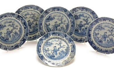 Set of six Chinese export ware blue and white plates