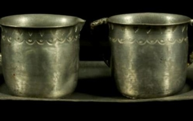 Silver Serving Tray With 2 Silver Cups