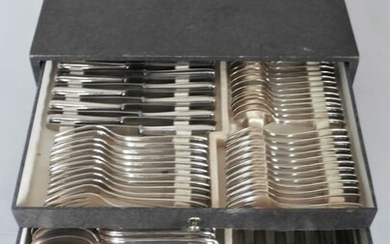 Solingen, Silber 100 - Art Deco silver plated 12-person cutlery / 84-piece in cassette - approx. 1930