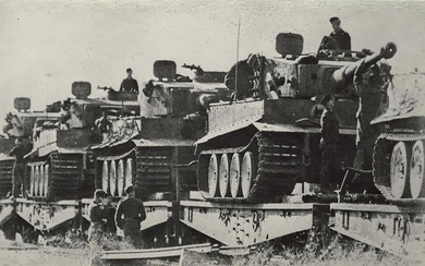 "[Soviet]. Photograph ""Troop shift of german tank unit nearby Kursk"". 1943. - 10x17 cm."
