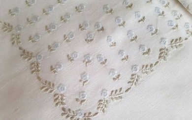Spectacular double sheet in 100% pure linen with full stitch embroidery by hand - Linen - AFTER 2000