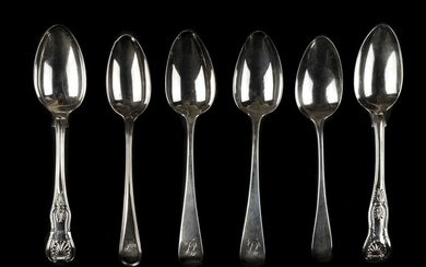 Spoons. A collection of silver dessert spoons