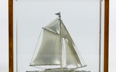 Sterling Silver Sailboat in Case