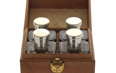 Sterling Silver and Crystal Cased Set of 4 Scent Bottles, France, Circa 1900.
