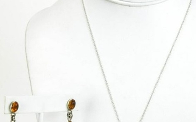 Sterling Silver & Peridot Necklace w Amber Earring