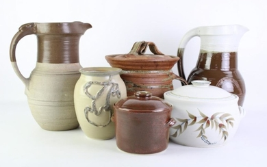 Studio Pottery Jug with Other Studio Pottery incl. Lidded Biscuit Barrels