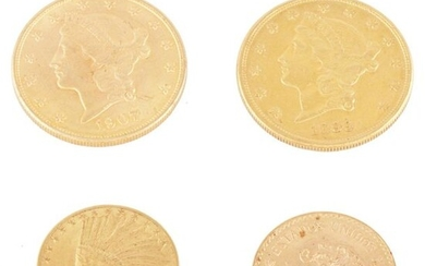 THREE AMERICAN GOLD COINS AND A MEXICAN COIN....