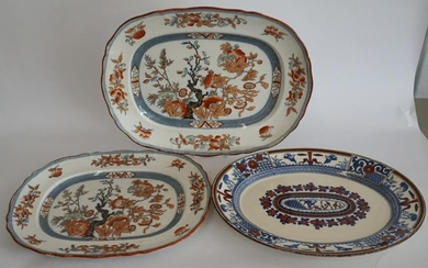 Three Antique Ironstone Masons Serving Platters