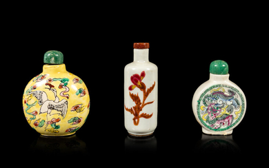 Three Chinese Famille Rose Porcelain Snuff Bottles