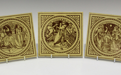 Three Mintons Shakespeare subject tiles, designed by John Moyr Smith, late 19th century, comprising