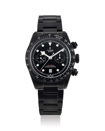 Tudor. A Limited Edition Black Stainless Steel Chronograph Wristwatch with Bracelet and Date