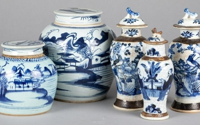 Two Chinese blue and white porcelain jars, etc.