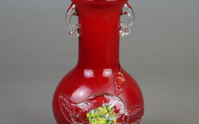 VASE - China, red glass with a milky opaque underlay.